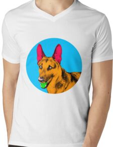 Blue Bubble German Shepherd Pop Art Mens V-Neck T-Shirt