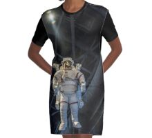 Floating Astronaut  Graphic T-Shirt Dress