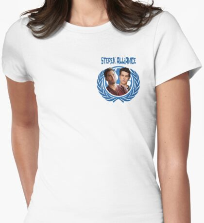 The Ultimate Sterek Alliance II Blue T-Shirt [Small Logo] Womens Fitted T-Shirt