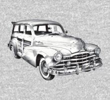 1948 Pontiac Silver Streak Woody Illustration One Piece - Long Sleeve