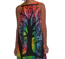 Tree of Life Tie Dye A-Line Dress