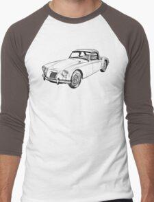 MG Convertible Sports Car Illustration Men's Baseball ¾ T-Shirt