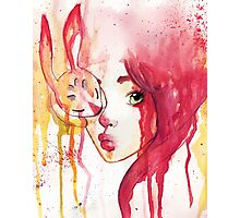 rabbit and the girl Photographic Print