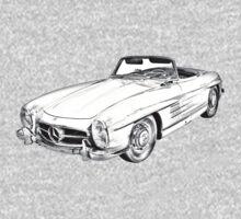 Mercedes Benz 300 SL Convertible Illustration One Piece - Long Sleeve