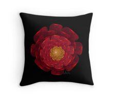 Red Flower Fractal Throw Pillow