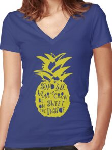 Stand Tall Pineapple! Women's Fitted V-Neck T-Shirt
