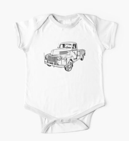 Old Flat Bed Ford Work Truck Illustration One Piece - Short Sleeve