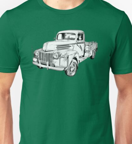 Old Flat Bed Ford Work Truck Illustration Unisex T-Shirt