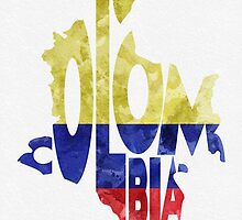 Colombia Typographic Map Flag by A. TW