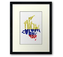 Colombia Typographic Map Flag Framed Print