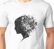 Scherenschnitt Porträt eines Mädchens im Profil Unisex T-Shirt