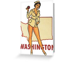 Washington WA State Pin-up Nurse Vintage Travel Decal Greeting Card