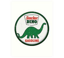 Sinclair Dino Gasoline vintage sign distressed Art Print