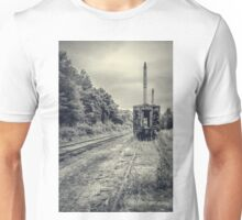 Abandoned burnt out train cars Unisex T-Shirt