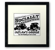 Outlaw's Garage. Socially unaccepted Hot Rods light bkg Framed Print