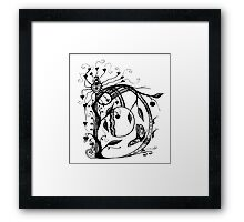 The Letter D Alphabet Aussie Tangle in Black and White Framed Print
