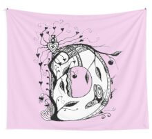 The Letter D Alphabet Aussie Tangle in Black and White Wall Tapestry