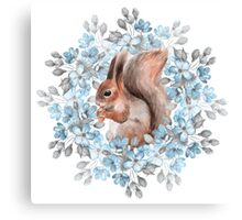 Squirrel and blue flowers Canvas Print