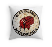 Red Indian Gasoline vintage sign reproduction rusted vers. Throw Pillow