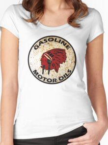 Red Indian Gasoline vintage sign reproduction rusted vers. Women's Fitted Scoop T-Shirt