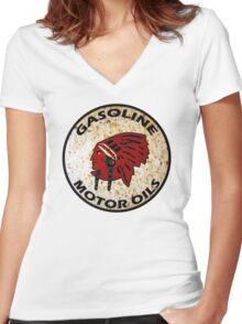 Red Indian Gasoline vintage sign reproduction rusted vers. Women's Fitted V-Neck T-Shirt