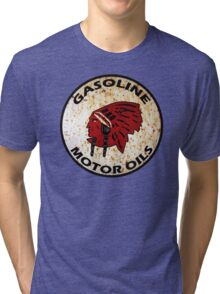 Red Indian Gasoline vintage sign reproduction rusted vers. Tri-blend T-Shirt