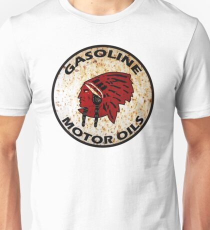 Red Indian Gasoline vintage sign reproduction rusted vers. Unisex T-Shirt