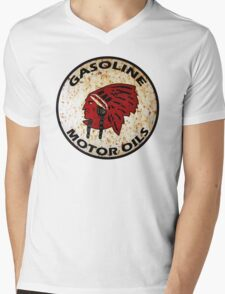 Red Indian Gasoline vintage sign reproduction rusted vers. Mens V-Neck T-Shirt