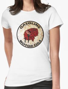 Red Indian Gasoline vintage sign reproduction rusted vers. Womens Fitted T-Shirt