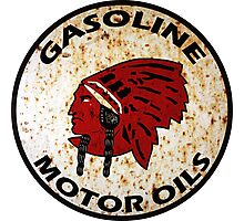 Red Indian Gasoline vintage sign reproduction rusted vers. Photographic Print