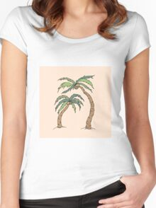 Palm Tree Print on Peach Women's Fitted Scoop T-Shirt