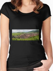 Panoramic View of Riquewihr and Surrounding Vineyards Women's Fitted Scoop T-Shirt