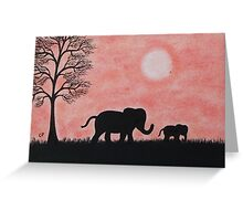 Elephants Silhouette: Baby Elephant with Mother Greeting Card