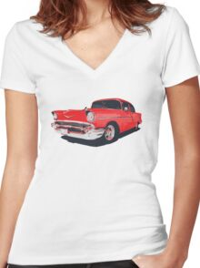 Chevy Bel Air 57 vector illustration Women's Fitted V-Neck T-Shirt