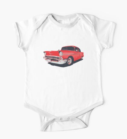 Chevy Bel Air 57 vector illustration One Piece - Short Sleeve