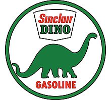 Sinclair Dino Gasoline vintage sign flat version Photographic Print