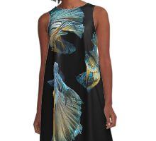 Blue Siamese Betta Fish A-Line Dress