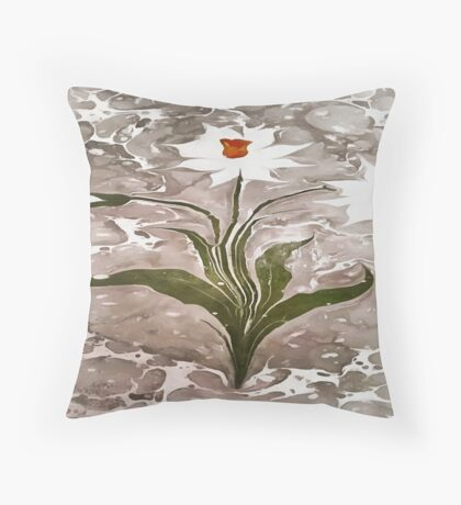 Narcissus On Marble Throw Pillow