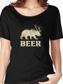 Vintage Bear Deer Beer T-shirt Women's Relaxed Fit T-Shirt