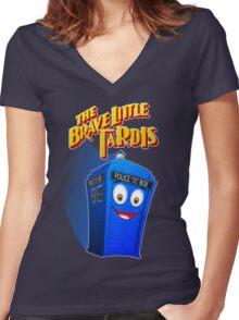 Brave Little Tardis Women's Fitted V-Neck T-Shirt
