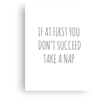 IF AT FIRST YOU DON'T SUCCEED, TAKE A NAP Canvas Print