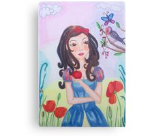 Princess with Apple and bird Canvas Print