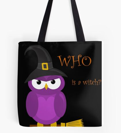 Who is the witch? - purple owl Tote Bag