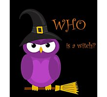 Who is the witch? - purple owl Photographic Print