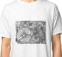 Floral Outline in B&W Classic T-Shirt