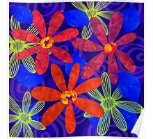 Orange Petals on Blue Poster