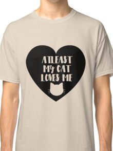 Funny Cat Love Valentines Day - Black Heart Classic T-Shirt