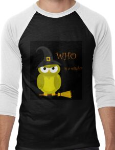 Who is a witch? - yellow owl Men's Baseball ¾ T-Shirt