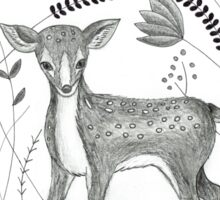Sweet Deer in Beautiful Garden Sticker