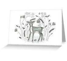 Sweet Deer in Beautiful Garden Greeting Card